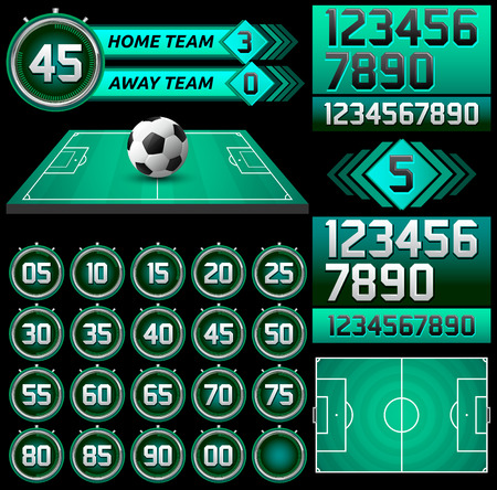Football - Soccer scoreboard and timer, stopwatch to track the time in a football game, Broadcast Graphics template