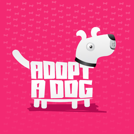 adoption: Adopt a Dog,  icon lettering with dog shape, adoption concept.