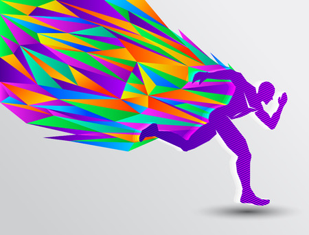 endurance run: Running man, abstract sport silhouette, athletics concept with colorful runner Illustration