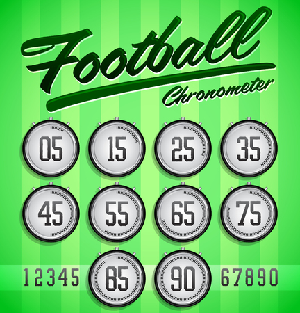numerical value: Football - Soccer Modern Green digital timer - stopwatch, to track the time in a football game. Illustration