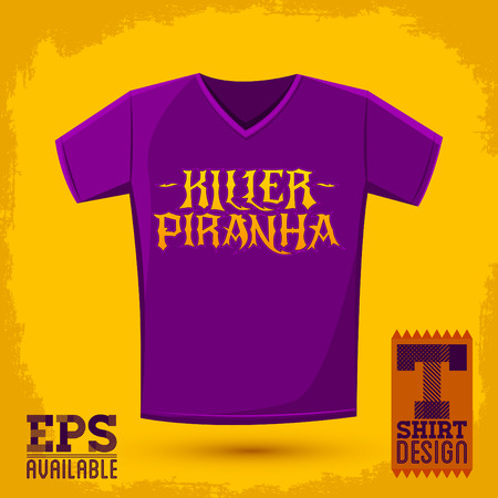 t shirt print: Killer Piranha - Lettering emblem - t - shirt print design Illustration