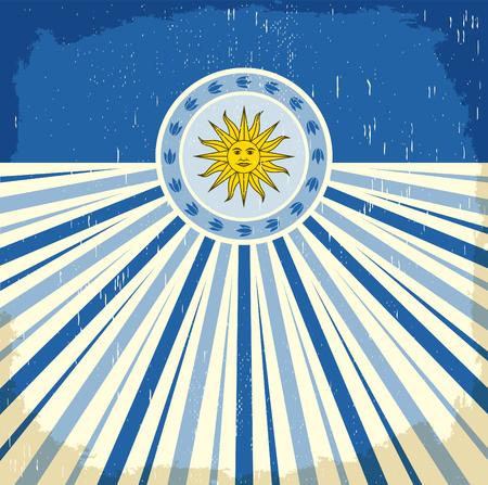 vintage colors: Uruguay vintage old poster with Uruguayan flag colors