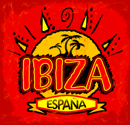 ibiza: Ibiza Espana - Ibiza Spain spanish text, beach concept icon, emblem design. Illustration