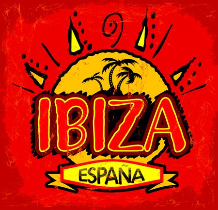 이 비자 스페인 -이 비자 스페인 스페인어 텍스트, 해변 개념 아이콘, 엠 블 럼 디자인.