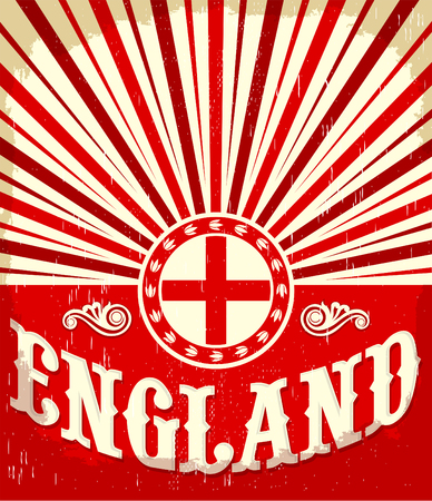 london england: England vintage old poster with english flag colors