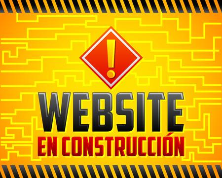Website en construccion - Website under construction spanish text, vector announcement