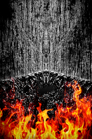 diabolic: Creepy dark background with fire - grunge illustration Stock Photo