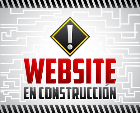 Website en construccion - Website under construction spanish text, announcement Vettoriali