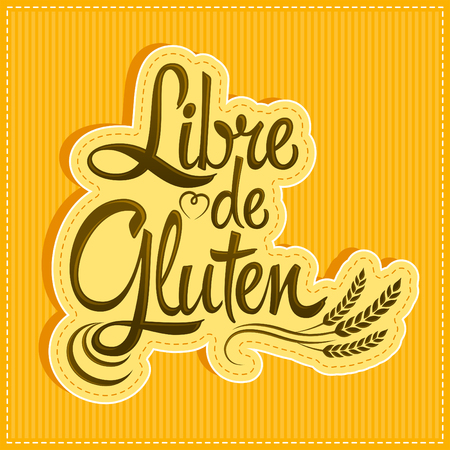 gluten: Libre de Gluten - Gluten Free spanish text - lettering label design Illustration