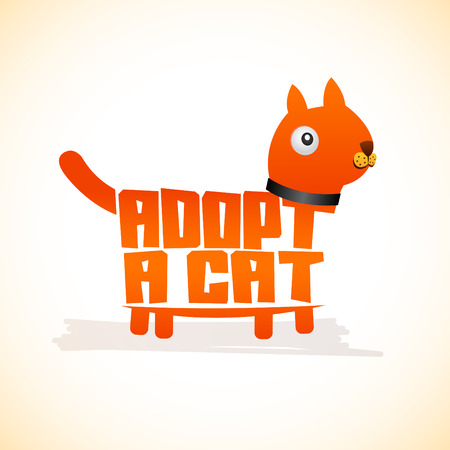 Adopt a Cat, Vector icon lettering with cat shape, adoption concept.