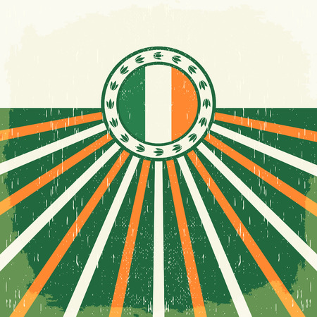 Ireland vintage old poster with irish flag colors - design, Ireland holiday decoration