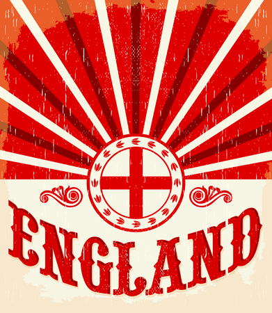 England vintage old poster with english flag colors - vector design, England holiday decoration