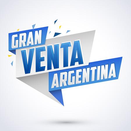 Gran venta Argentina - Argentina big sale spanish text, vector modern colorful banner