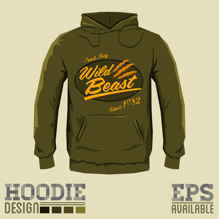 print template: Wild Beast - Vector hoodie print design - sweatshirt vector badge print template Illustration