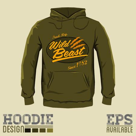 hoodie: Wild Beast - Vector hoodie print design - sweatshirt vector badge print template Illustration