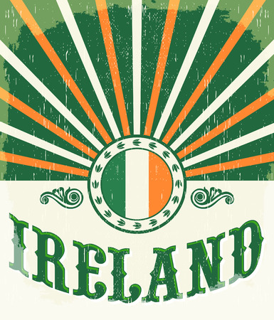irish banners: Ireland vintage old poster with irish flag colors - vector design, Ireland holiday decoration