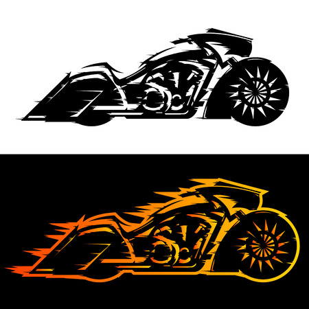 motorcycle racing: Bagger style motorcycle vector illustration,  Baggers custom motorbike covered in flames