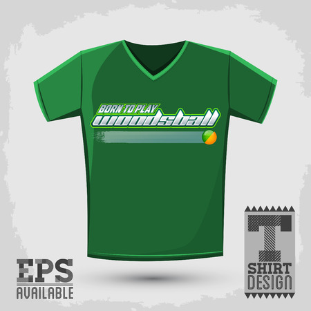 Graphic T- shirt design - Born to play woodsball - Woodsball is a format of paintball gaming - vector Typographic Design Ilustração