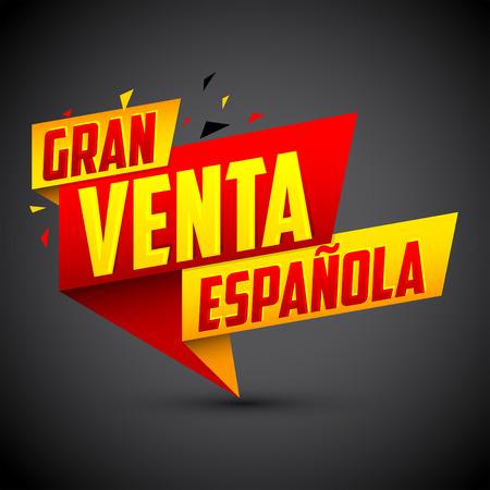 gran: Gran venta Espanola - Spanish big sale spanish text, vector modern colorful banner