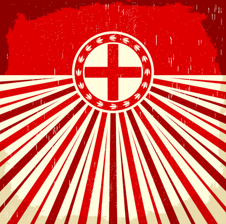 vintage colors: England vintage old poster with english flag colors - vector design, England holiday decoration