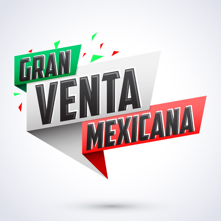 Gran venta Mexicana - Mexican big sale spanish text, vector modern colorful promotional banner