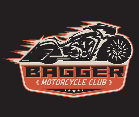motors: Bagger Motorcycle badge, vector emblem Motorcycle Club vector design