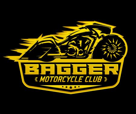 Bagger Motorcycle badge, vector emblem Motorcycle Club vector design