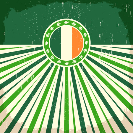 vintage colors: Ireland vintage old poster with irish flag colors - vector design, Ireland holiday decoration