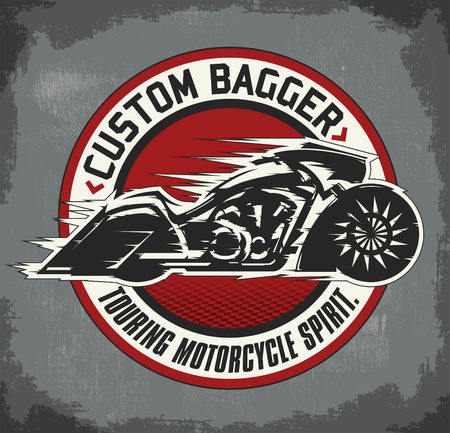 Bagger custom Motorcycle circular badge, vector emblem Motorcycle