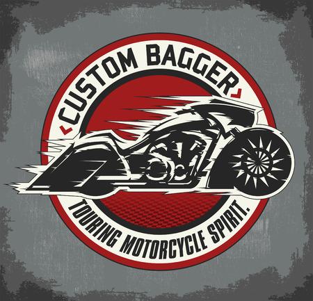 bagger: Bagger custom Motorcycle circular badge, vector emblem Motorcycle