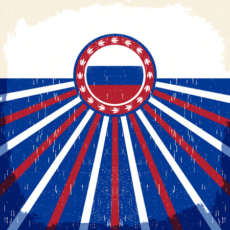 Russia vintage old poster with Russian flag colors - vector design, Russia holiday decoration  イラスト・ベクター素材