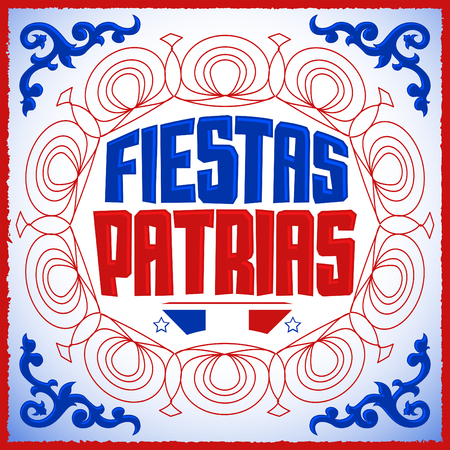 national: Fiestas Patrias - National Holidays spanish text, Chile theme patriotic celebration banner, Chilean flag color
