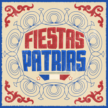 holiday card: Fiestas Patrias - National Holidays spanish text, Chile theme patriotic celebration banner, Chilean flag color