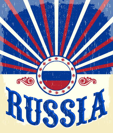 russian  russia: Russia vintage old poster with Russian flag colors -  design, Russia holiday decoration.