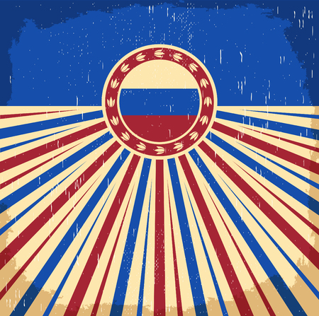 russian  russia: Russia vintage old poster with Russian flag colors - design, Russia holiday decoration