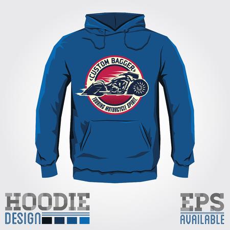 hooded: Bagger Motorcycle badge hoodie print design, sweatshirt template.
