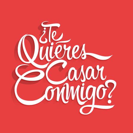Te Quieres Casar Conmigo - Wil je met me trouwen spaans tekst, belettering ontwerp Stock Illustratie