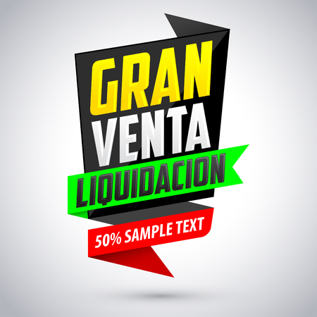 gran: Gran Venta Liquidacion - Big Clearance Sale spanish text, modern colorful banner