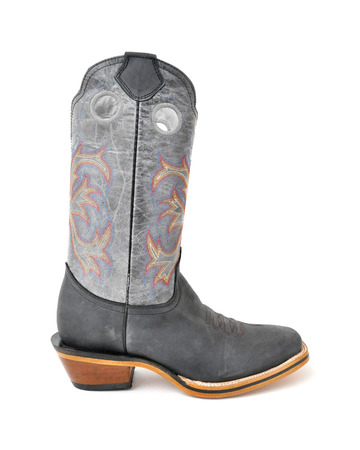 Rodeo style cowboy boot on white background