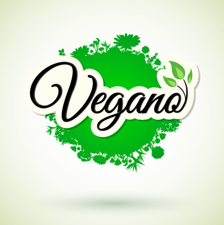 Vegano - Vegan spanish text, icon design. Green vegan friendly symbol. Vegan food sign with leaves Ilustração