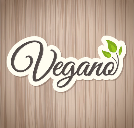 Vegano - Vegan spanish text, icon design, vegan symbol food with leaves 向量圖像