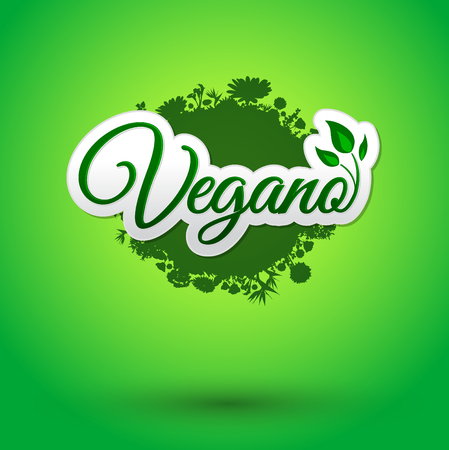 spanish food: Vegano - Vegan spanish text, icon design, green vegan symbol food with leaves