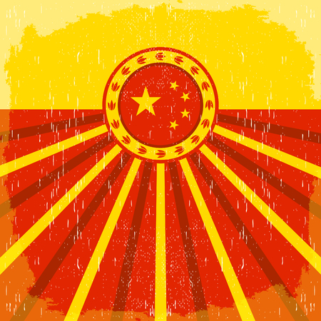 vintage colors: vintage old poster with Chinese flag colors design, China holiday decoration.