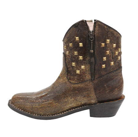 rivets: Women cowboy boot, rivets cowgirl boot on white background