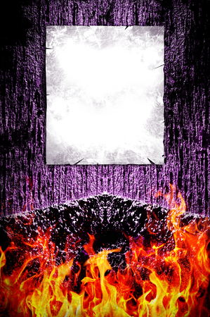 diabolic: Creepy dark background and fire with poster ready for your text