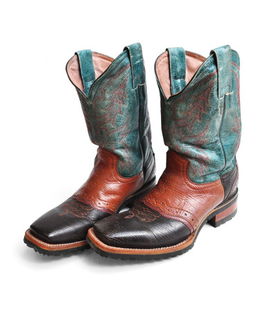 Rodeo style cowboy boots on white background Stock Photo