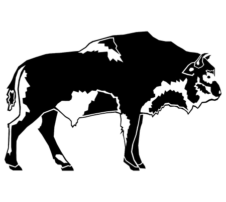 buffalo bison: Buffalo - American Bison abstract illustration silhouette