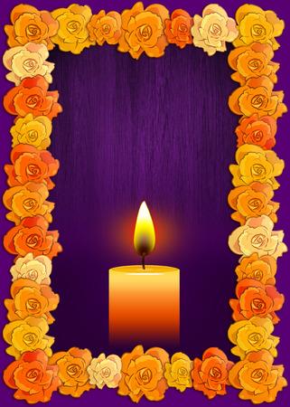 Día del cartel muerto con flores cempasúchil tradicionales utilizados para altares y velas, fondo de vacaciones mexicana.