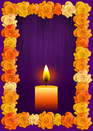 Day of the dead poster with traditional cempasuchil flowers used for altars and candle, Mexican holiday background. Stok Fotoğraf