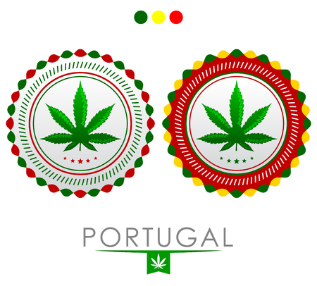 Portugal marijuana emblem - cannabis seal of approval with the colors of the flag of Portugal